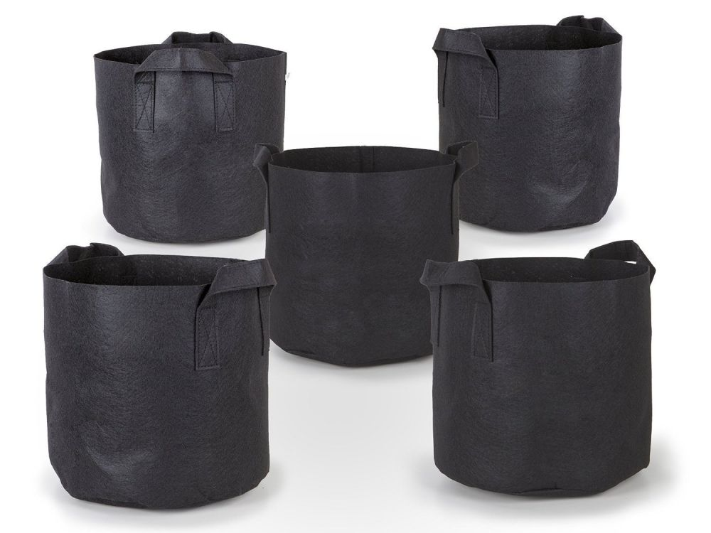 247Garden 5pc 5-Gallon Aeration Fabric Pots w/Handles, 5-Packs of Breathable-Felt Nursery Garden Planting Grow Bags (Black)