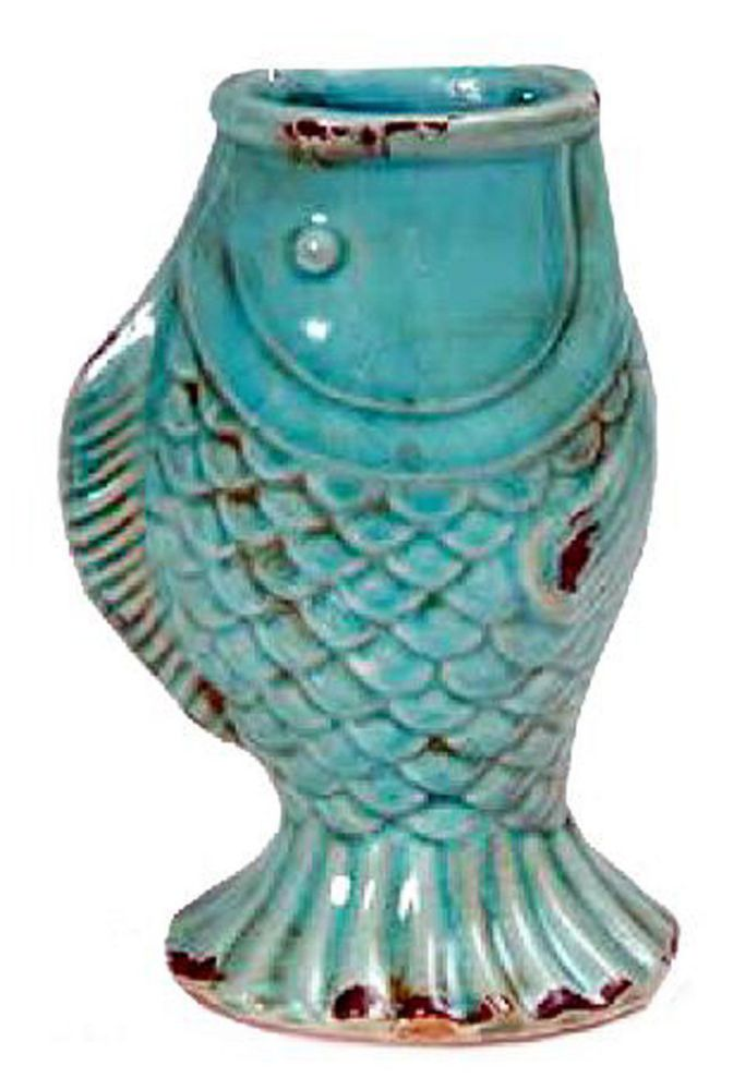 "8.5"" Aqua Blue Ceramic Fish Vase"