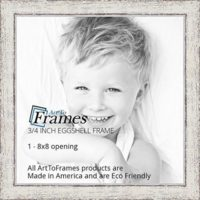 ArtToFrames 8x8 inch Eggshell Rustic Barnwood Wood Picture Frame, WOM0066-1343-YWHT-8x8