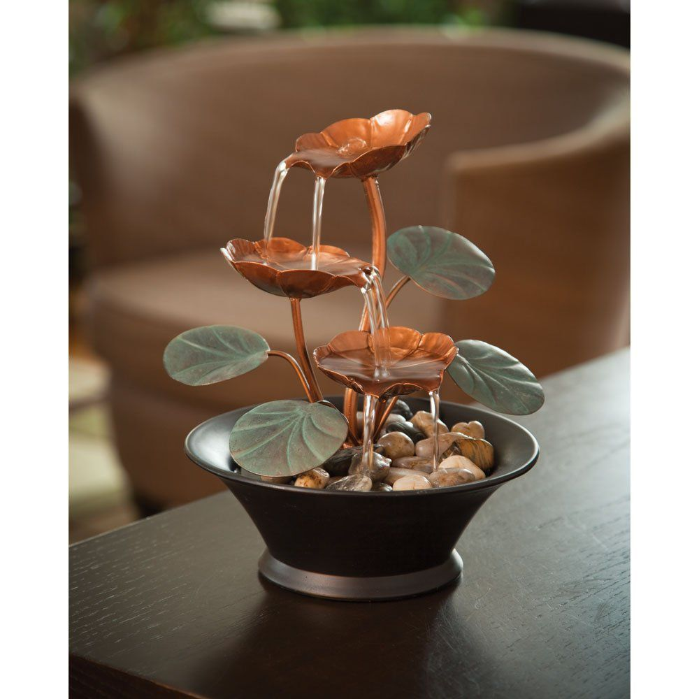 Indoor Tabletop Fountains with Water Lily Design | Decor on The Line