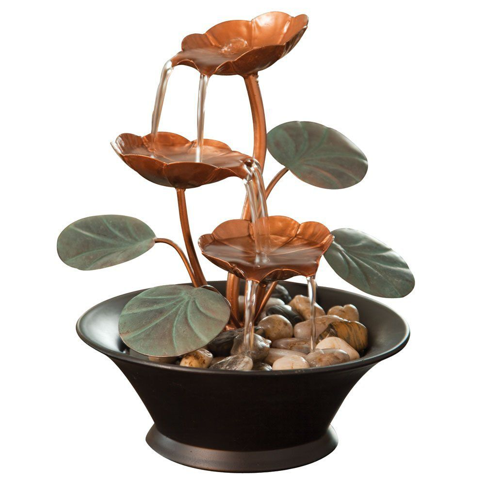 Bits And Pieces   Indoor Water Lily Water Fountain Small Size Makes This A  Perfect