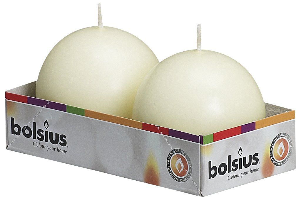 Bolsius Pack of 2 Ivory Ball Candles 2.75 Inch (70 mm.)