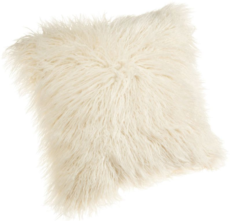 Brentwood 18-Inch Mongolian Faux Fur Pillow, Natural