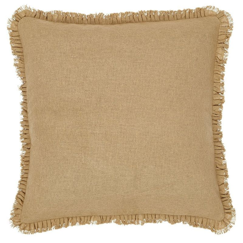 "Burlap Natural Fringed Pillow Cover 16"" x 16"""