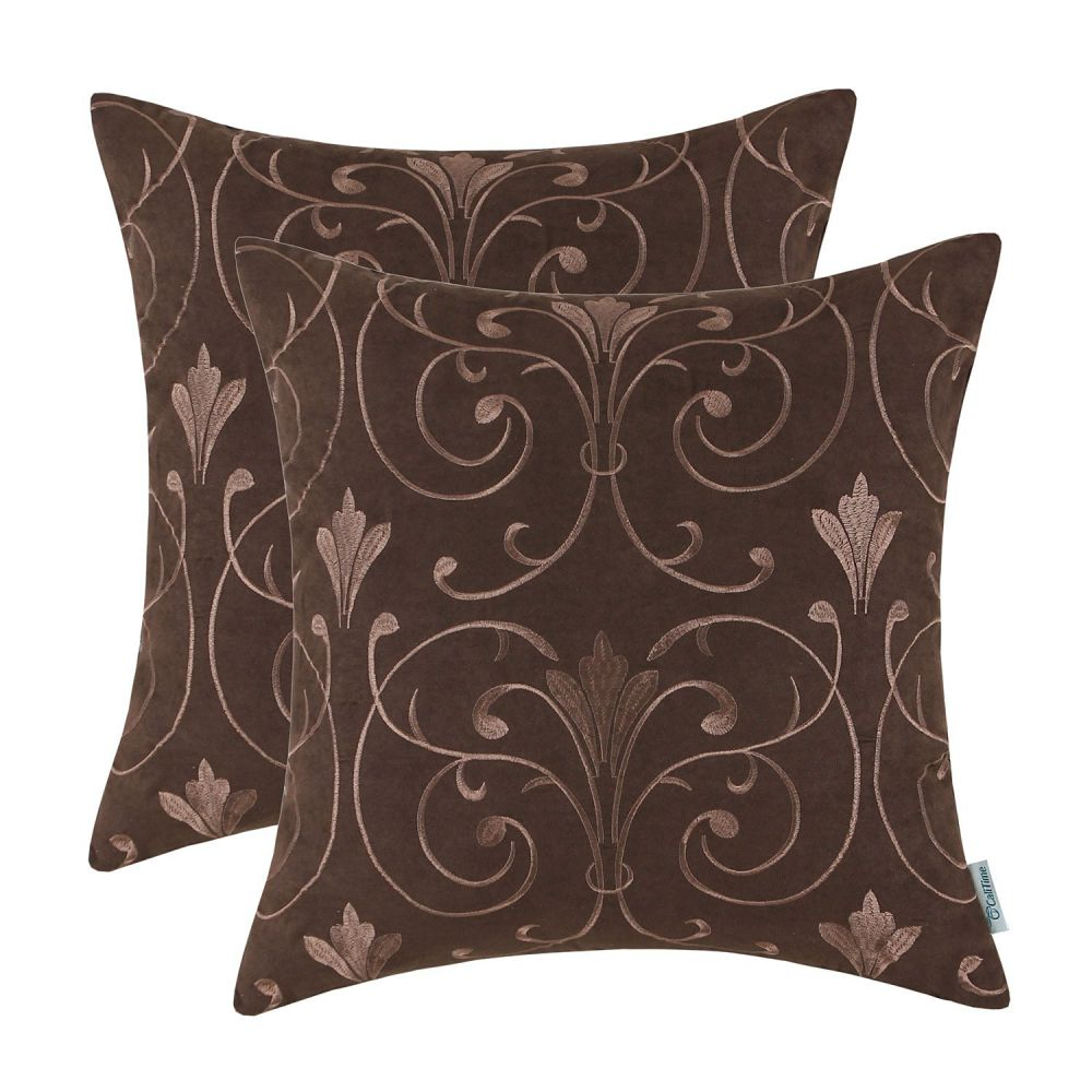 CaliTime Throw Pillows Covers 18 X 18 Inches, Soft Faux Suede Embroidered, Scrolled Floral, Dark Brown, Pack of 2