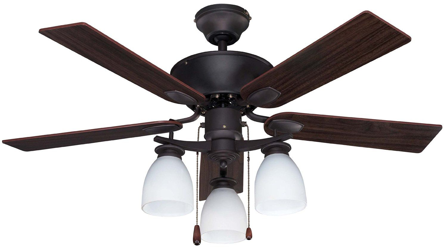 Canarm CF42NEW5ORB New Yorker Dual Mount 42-Inch Ceiling Fan with Flat Opal Light Kit and 5 Reversible Blades, Oil Rubbed Bronze