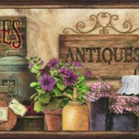 Chesapeake PUR44582B Brittany Brown Herbs Antiques Portrait Wallpaper Border