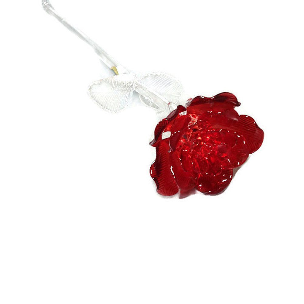 """Waterford® Crystal Gifts Fleurology 14.5"""" Colored Sculpted Glass Red Rose. Packaged In A Waterford Presentation Gift Box"""