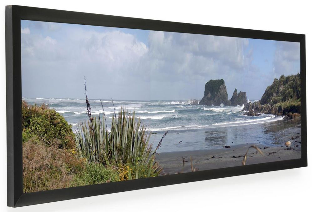 "Displays2go PNFA3612B Panoramic Print Picture Frame with Lens and Wall Mount, 36"" x 12"", Black Aluminum"