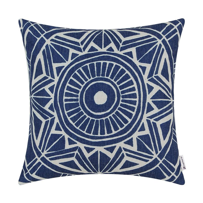 Euphoria CaliTime Cushion Cover Throw Pillow Shell Compass Geometric 18 X 18 Inches Navy Blue