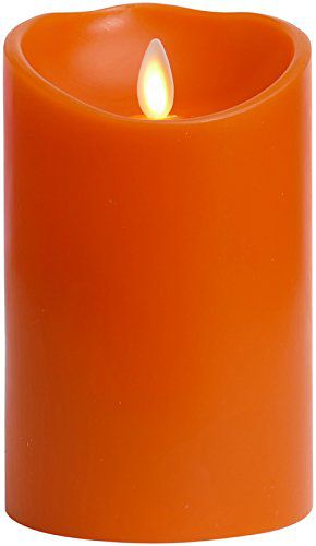 Halloween Flameless Candle featuring Moving Flame Technology by Liown: Unscented LED Candle with Timer and Batteries (3.5x5, Orange)