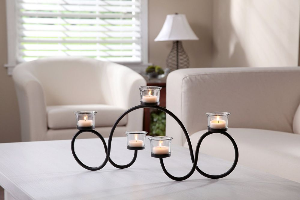 "Hosley's 19"" Long Tealight Candle holder. Hand Made By Artisans. Includes FREE Tea Lights. Ideal for Fireplace, Home, Spa, Wedding Gift. Modern Art. Bulk Buy"