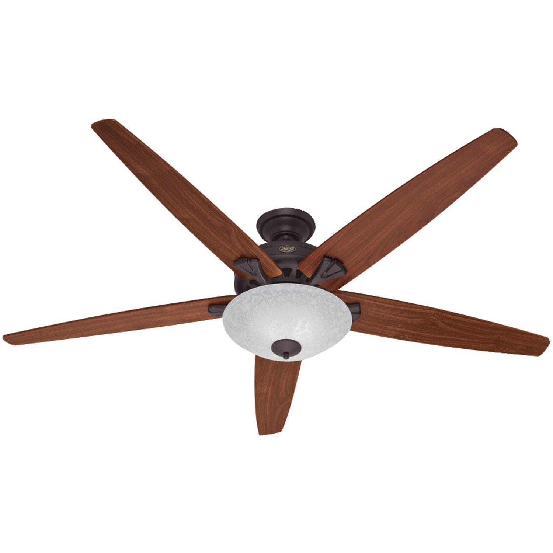 Hunter Fan Company 55042 Stockbridge 70-Inch Ceiling Fan with Five Walnut/Medium Oak Blades and Light Kit, New Bronze