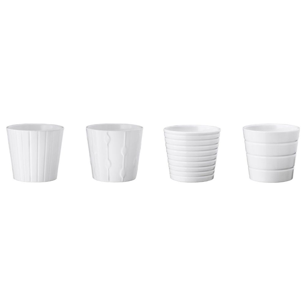 Ikea Kardemumma, Ceramic White Flower Plant Pot, Package Including All Four Textures/designs