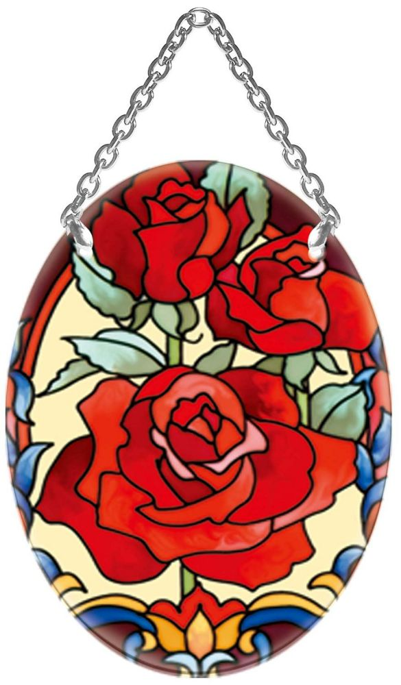 Joan Baker Design SO477R Rose Trio Art Glass Suncatcher, 4.5-Inch by 3.25-Inch