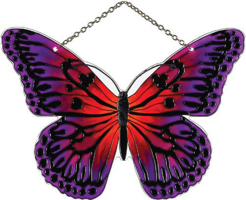 Joan Baker Designs SSE1018 Magenta/Orange Butterfly Art Glass Suncatcher, 5-1/4 by 7-Inch