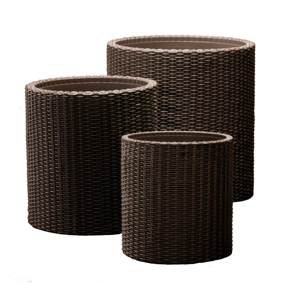 Keter Round Plastic Rattan Resin Garden Flower Plant Planters Decor Pots 3 pc, assorted sizes, Brown