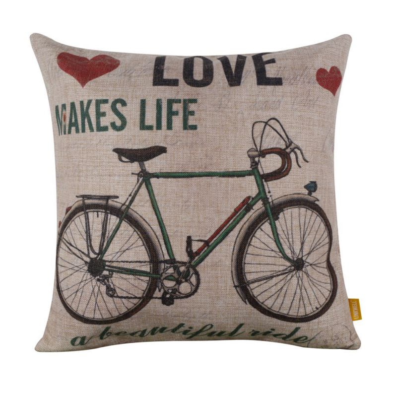 "LINKWELL 18""x18"" Love Makes Life a Beautiful Ride Burlap Cushion Covers Pillow Case"