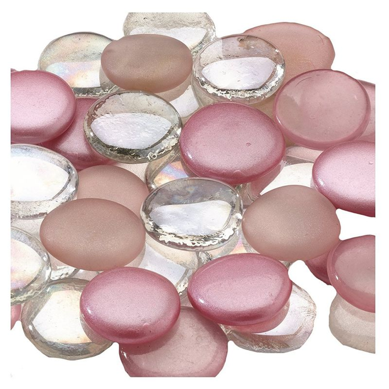 Lillian Rose 45-Piece Mixed Glass Signing Stones, Pink