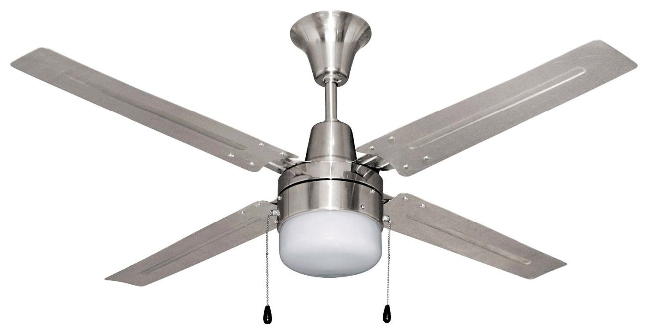 Litex E-UB48BC4C1 Urbana 48-Inch Ceiling Fan with Five Brushed Chrome Blades and Single Light Kit with frosted Glass