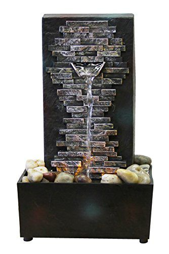 Nature's Mark Slate Brick Wall LED Relaxation Water Fountain with Authentic River Rocks