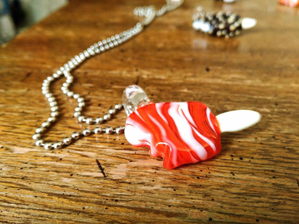 Orange Dreamsicle Ice Cream Bar w/ Bite Pendant Heady Glass Summer Jewelry