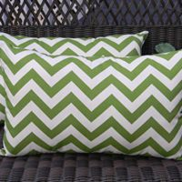 Set of 2 Indoor / Outdoor Decorative Lumbar / Rectangle Pillows - Green and Ivory Chevron / Zig Zag