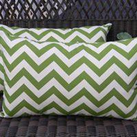 Set of 2 Indoor / Outdoor Decorative Lumbar / Rectangle Pillows - Green and Ivory Chevron / Zig Zag