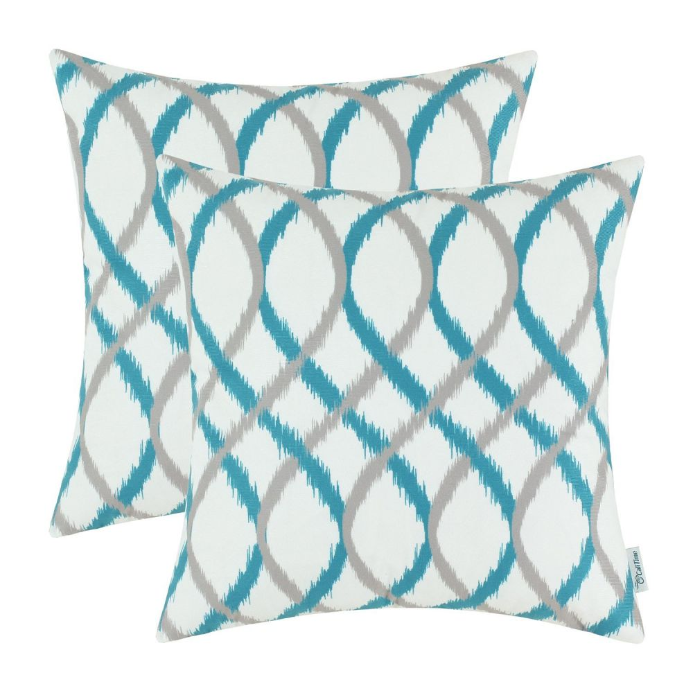Pack of 2 CaliTime Throw Pillow Covers, Modern Two-tone Waves Geometric, 20 X 20 Inches, Gray Teal