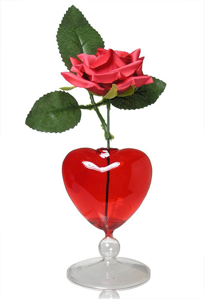 Red Rose in Glass Heart Shaped Vase - Fabric Rose That Will Last Forever - I Love You - Anniversary - Mom - Wife - Girlfriend