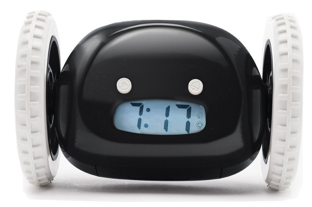 Rightwell Funny Alarm Clock Hide and Seek Clock Runaway Alarm Clock On Wheels for Lazy People(Black)
