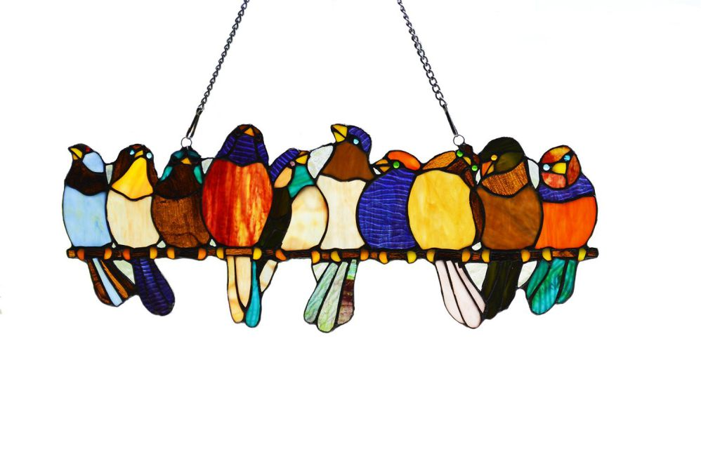 "River of Goods 9.25"" H Tiffany Style Stained Glass Birds on a Wire Window Panel"