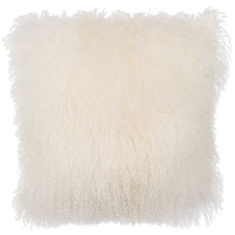 SLPR Home Collection Mongolian Lamb Fur Pillow Cover (16 x 16, Natural)