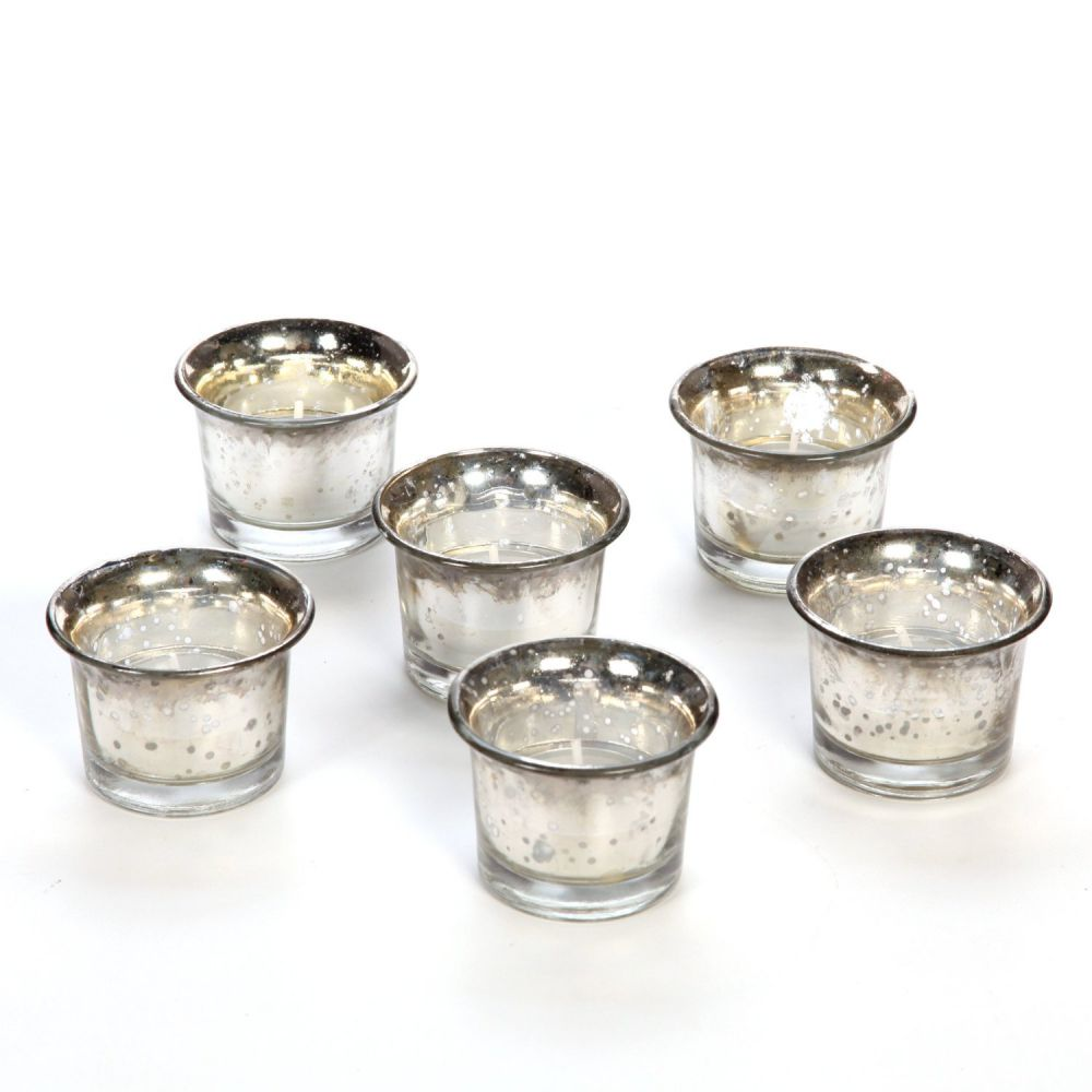 Set of 6 Hosley Metallic Silver Glass Candle/Tealight Holder with Free 6 Tealights