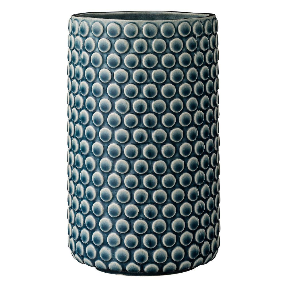 Teal Scalloped Ceramic Vase