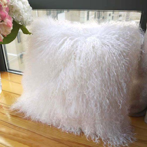 100% Tibetan Mongolian Lamb Sheepskin Wool Fur Leather Pillowcase Cushion Cover 20x20 Inch (Ivory White) by ROSE FEATHER