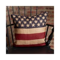 Vintage American Flag Burlap Throw Pillow - 16-in