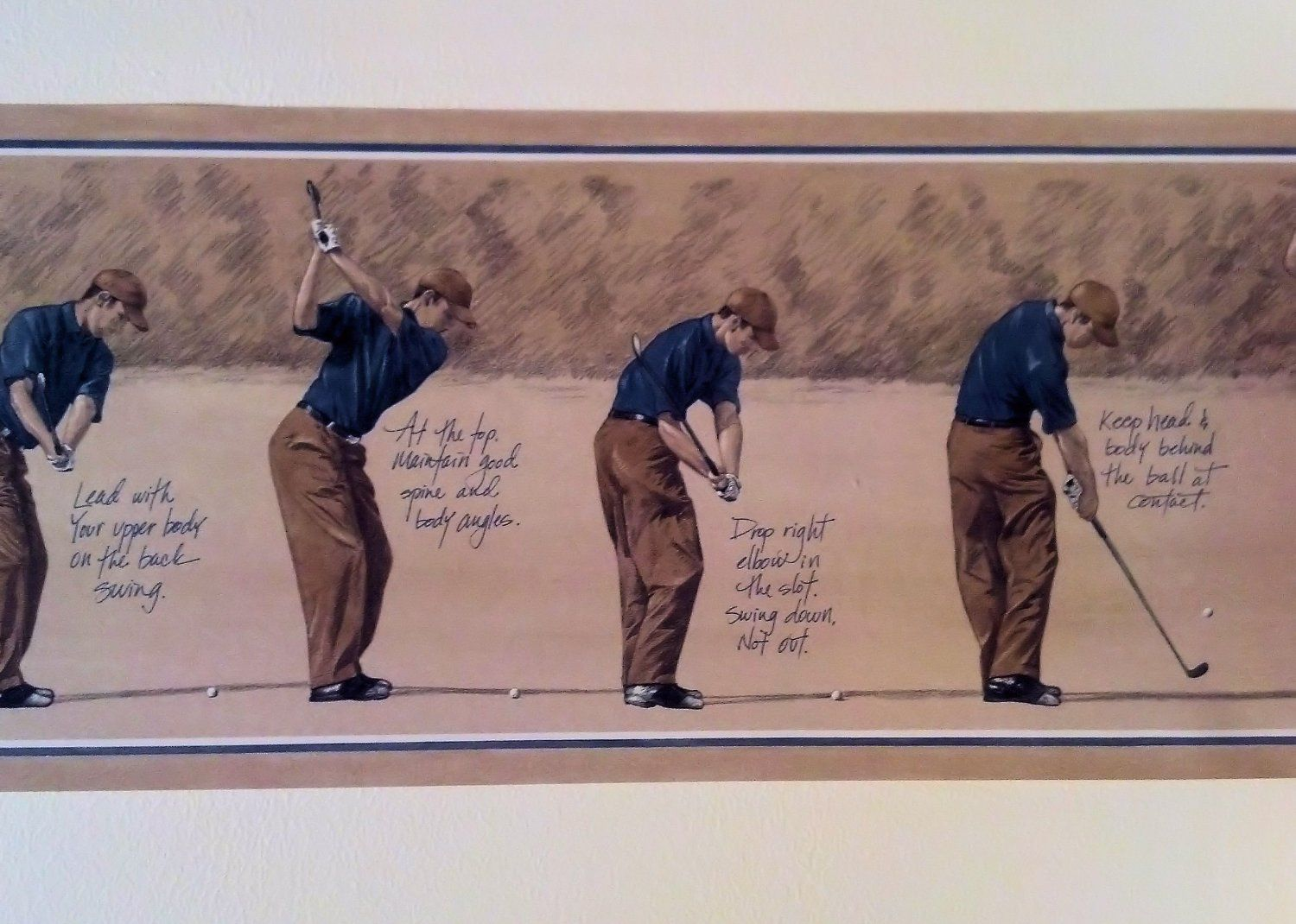 Wallpaper Border Golf Progression Swing Blue Golfer