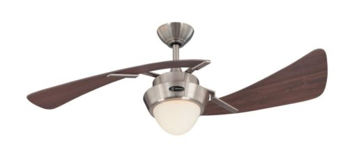 Westinghouse 7214100 Harmony Two-Light 48-Inch Two-Blade Indoor Ceiling Fan, Brushed Nickel with Opal Frosted Glass