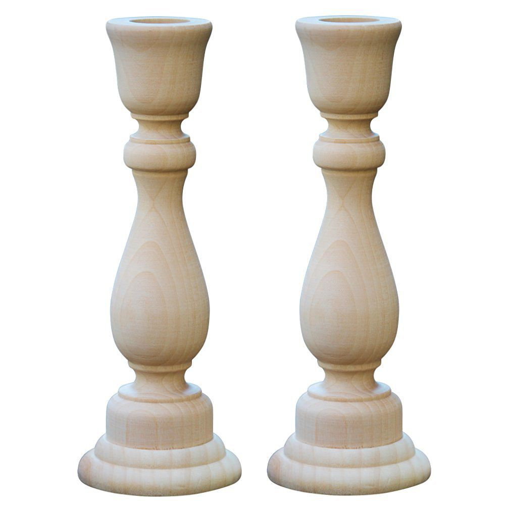 Woodpeckers® Unfinished Candlesticks 6-3/4 Inch, Unfinished Wooden Candlestick Holder - Bag of 2