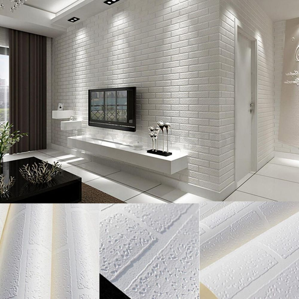 YIYATOO White Real Looking Deep Embossed Textured 3d Brick Pattern Wallpaper Roll