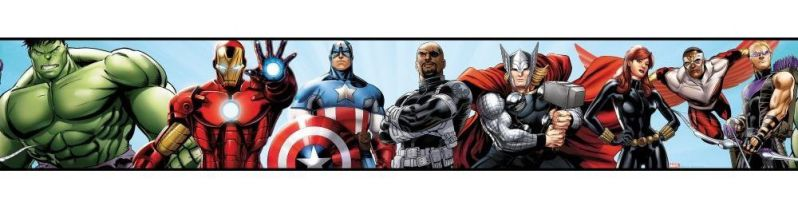 York Wallcoverings DS7841BD Walt Disney Kids II Avengers Border, Pale Blue/Black/Green/Purple/Red/Grey/Brown/Silver