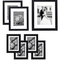 7-piece Picture Frame Set; Four 5x7 Inch Picture Frames with 4x6 Inch openings - Two 8x10 Inch Picture Frames with 5x7 openings - One 11x14 Inch Picture Frame with an 8x10 inch openings