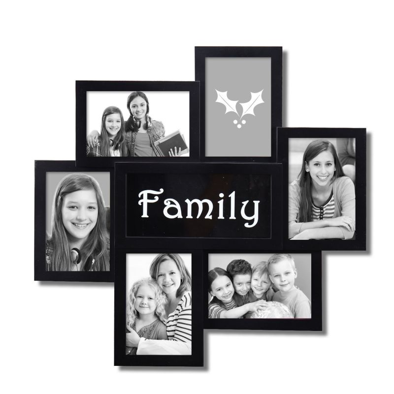 adeco decorative black plastic family wall hanging collage picture photo frame