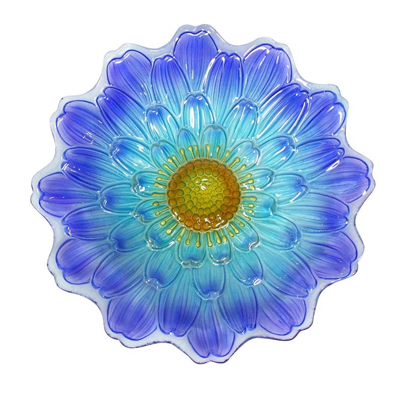 "Alpine Blue Flower Birdbath, 18"""