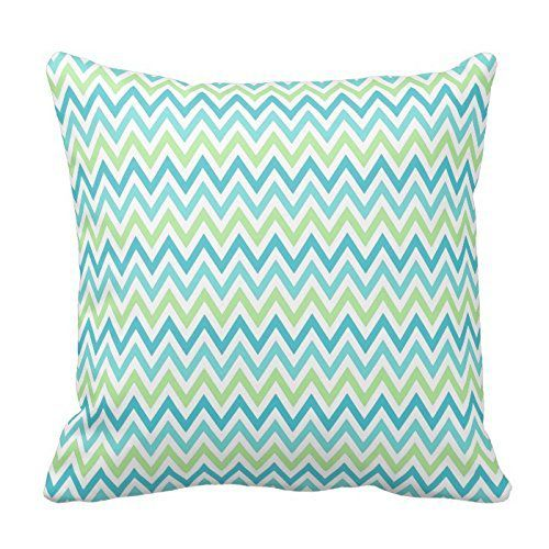 Aqua, blue and lime green chevron zigzag pattern throw Pillowcases Standard Size 18 x 18