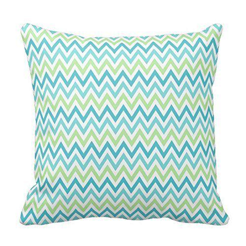 Aqua, blue and lime green chevron zigzag pattern throw Pillowcases Standard Size 18 x 18