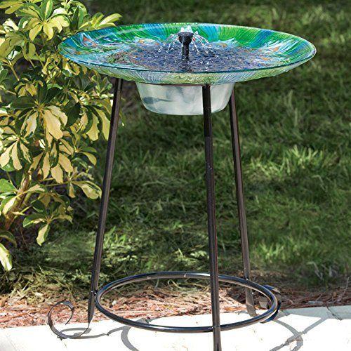 Argus Peacock Glass Solar Bird Bath Fountain by Smart Solar