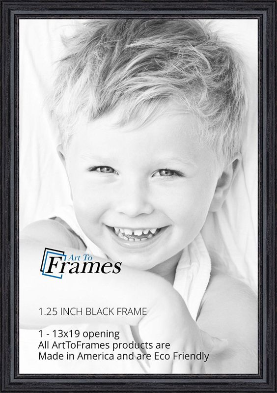 ArtToFrames 13x19 inch Black Stain on Solid Red Oak Wood Picture Frame, WOM0066-59504-YBLK-13x19