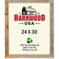 BarnwoodUSA Rustic 24 by 30 Inch Wooden Picture Frame with 2 Inch Wide Molding - 100% Reclaimed Wood, Weathered Gray